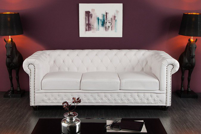 Bank 3-zits Chesterfield Wit - 11222