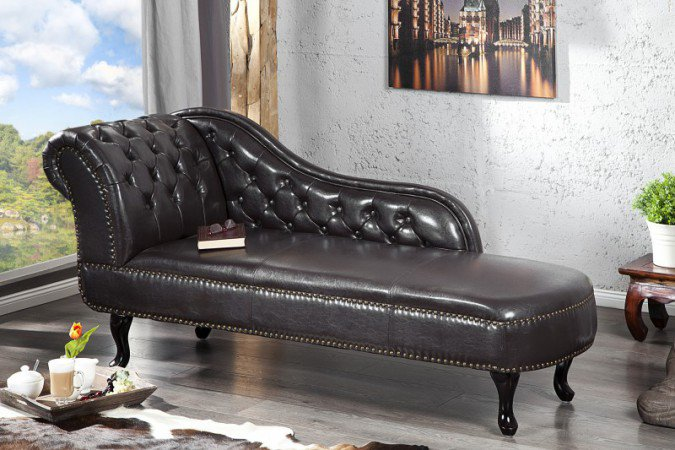 Chaise Longue Recamiere Chesterfield 137cm Dark Coffee - 10942