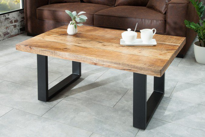 Salontafel Iron Craft 100cm Natur Massief Mango Hout - 38662