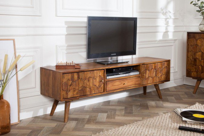 TV-Meubel Mystic Living 140cm Massief Sheesham Hout - 39744