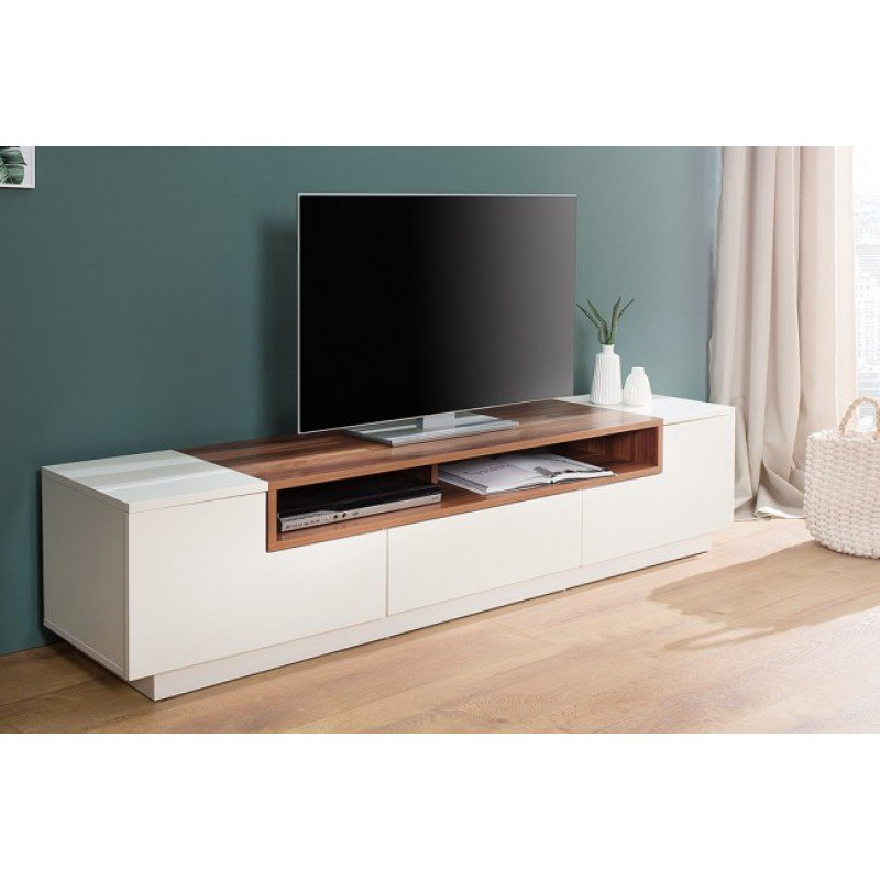 tv meubel empire wit walnoot 180cm online bestellen ventura design. Black Bedroom Furniture Sets. Home Design Ideas