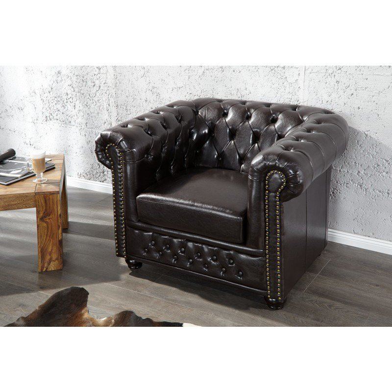 chesterfield fauteuil dark coffee online bestellen ventura design. Black Bedroom Furniture Sets. Home Design Ideas