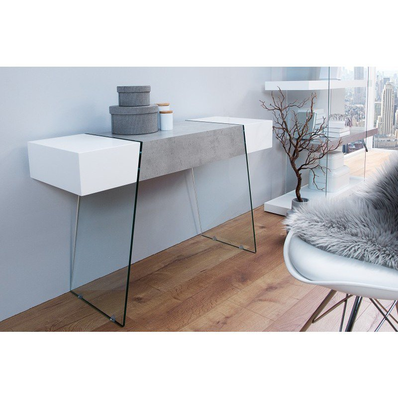 Sidetable Wit 120 Cm.Sidetable Onyx Wit Beton 120cm 38141