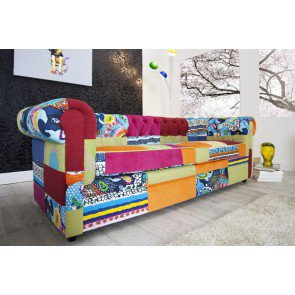 Bank 3-zits Chesterfield Patchwork Bontgekleurd - 35018