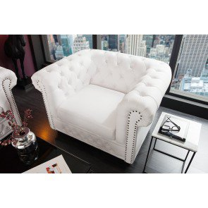 Chesterfield Fauteuil Wit - 11223