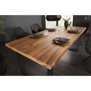 Eettafel Iron Craft 160cm Massief Sheesham Hout 45mm - 39868