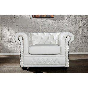 Chesterfield Fauteuil Mat Wit - 11223
