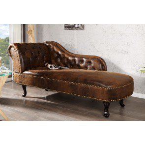 Chaise Longue Recamiere Chesterfield 175cm Bruin - 21628