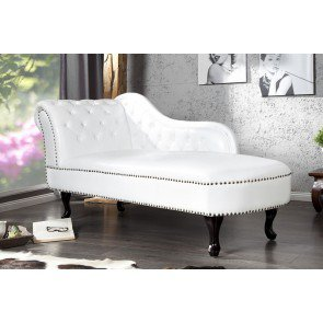 Chaise Longue Recamiere Chesterfield 137cm Mat Wit - 10943