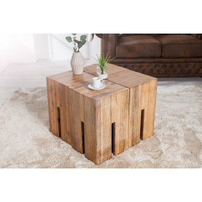 Hocker Castle 45cm Massief Acacia Hout - 36440