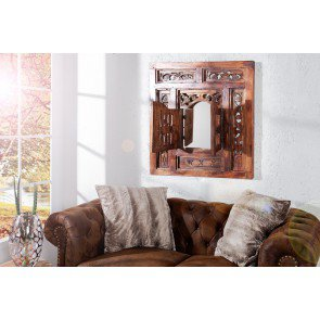 Spiegel Secret Window 70x60cm Massief Mahagoni Hout - 36633