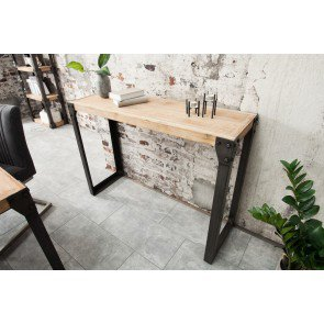 Sidetable factory 120x40cm Massief Acacia kalk - 38035