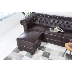 Hocker Chesterfield 60cm dark coffee - 38521