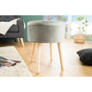 Hocker Multi Talent Grijs Fluweel - 38592