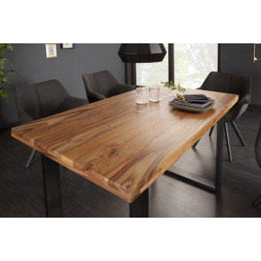 Eettafel Iron Craft 140cm Massief Sheesham Hout 45mm - 39867