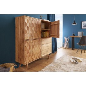 Highboard Mystic Living 140cm Massief Akazie Hout - 39941