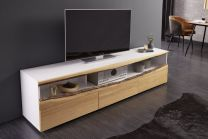 TV-Meubel Wild Oak 180cm Massief Eiken Hout Wit - 40061