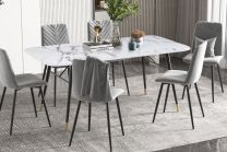 Eettafel Paris 180cm Glas Marmerlook Wit - 40845