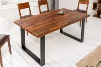 Eettafel Iron Craft II 160cm Massief Sheesham Hout 45mm - 40817