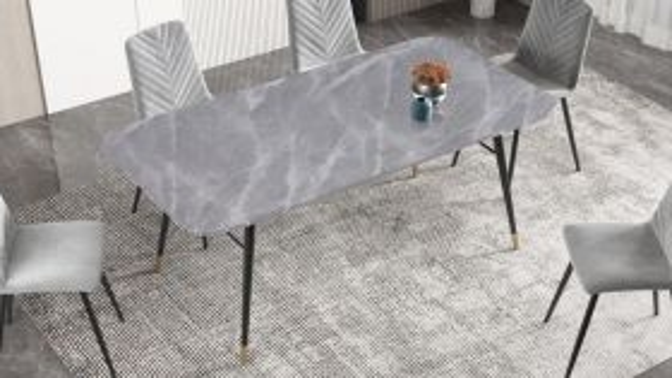 Eettafel Paris 180cm Glas Marmerlook Grijs - 40847
